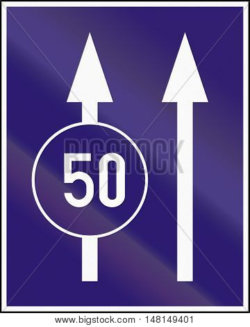 Informatory Hungarian Road Sign - Two Lanes With Minimum Speed