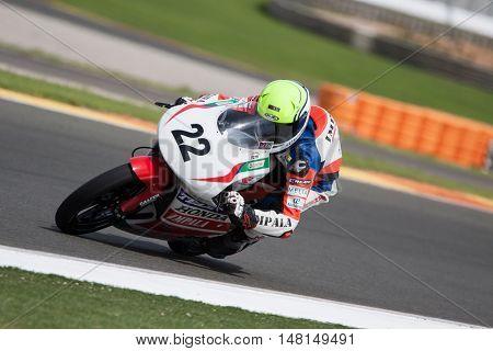 CHESTE, SPAIN - SEPTEMBER 17th: Joan Uvi�±a in Moto3 during Spanish Speed Championship CEV at Cheste Circuit on September 17, 2016 in Cheste, Spain