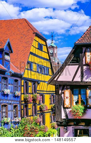 Beutiful places of France - colorful Riquewihr village in Alsace