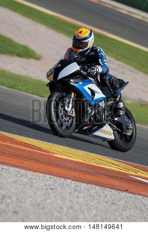CHESTE, SPAIN - SEPTEMBER 17th: Oscar Martinez in SuperStock1000 during Spanish Speed Championship CEV at Cheste Circuit on September 17, 2016 in Cheste, Spain