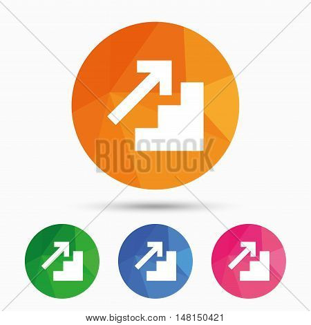 Upstairs icon. Up arrow sign. Triangular low poly button with flat icon. Vector