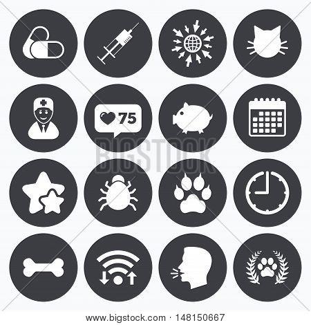 Calendar, wifi and clock symbols. Like counter, stars symbols. Veterinary, pets icons. Paw, syringe and bone signs. Pills, cat and doctor symbols. Talking head, go to web symbols. Vector