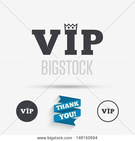Vip sign icon. Membership symbol. Very important person. Flat icons. Buttons with icons. Thank you ribbon. Vector