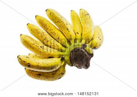 Ripe banana isolated on white background. It is good food for excretion