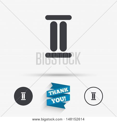 Roman numeral two sign icon. Roman number two symbol. Flat icons. Buttons with icons. Thank you ribbon. Vector