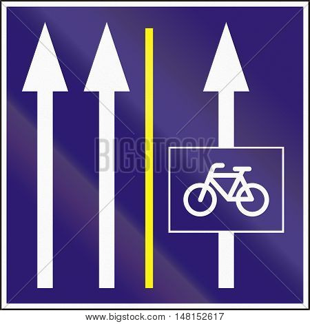 Informatory Hungarian Road Sign - Two Lanes With Additional Bike Lane