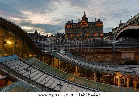 Hotel Balmoral Viewed Over Waverly Station In Edinburgh