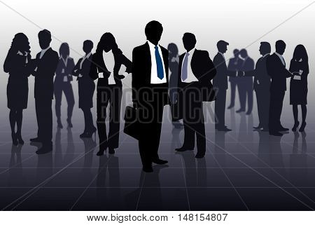 contours of a large business team standing in the lobby of a large holding company