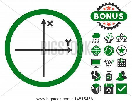 Cartesian Axis icon with bonus design elements. Vector illustration style is flat iconic bicolor symbols green and gray colors white background.
