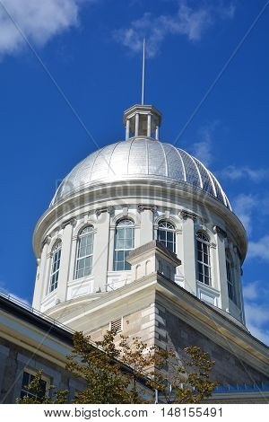 MONTREAL CANADA 09 17 2016: Dome of Bonsecours Market in Old Montreal, Quebec, Canada. For more than 100 years, it was the main public market in the Montreal area.