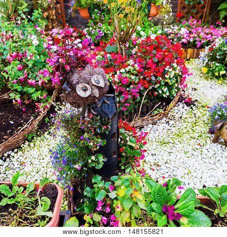 Garden Decoration With An Owl
