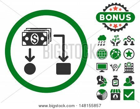 Cashflow icon with bonus images. Vector illustration style is flat iconic bicolor symbols green and gray colors white background.