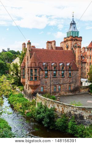 picturesque Dean Village along the river Leith in Edinburgh Scotland poster