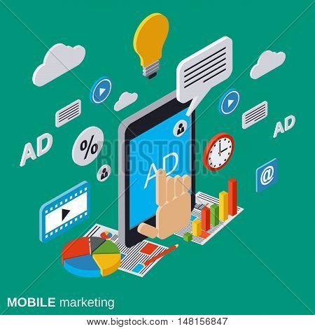 Mobile marketing, advertising, promotion flat isometric vector concept illustration