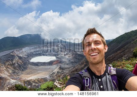 Selfie With The Poas Volcano In The Background