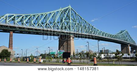 MONTREAL CANADA 09 17 2016:The Jacques Cartier Bridge is a steel truss cantilever bridge crossing the Saint Lawrence River from Montreal to Longueuil in Montreal, Quebec, Canada