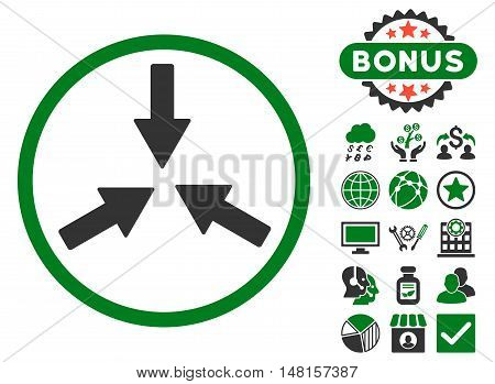 Collide Arrows icon with bonus design elements. Vector illustration style is flat iconic bicolor symbols, green and gray colors, white background.