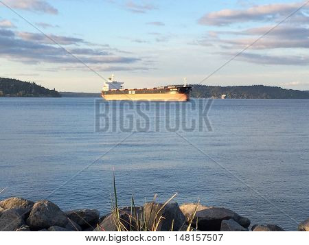Empty container ship in the water of the Puget Sound.