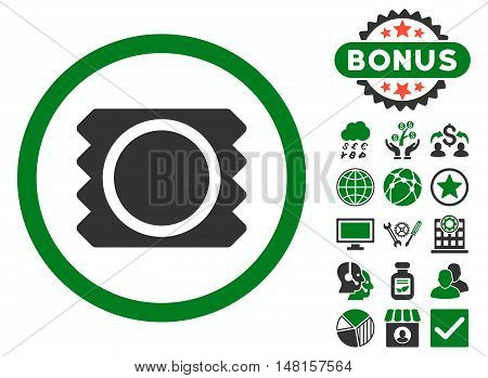 Condom icon with bonus elements. Vector illustration style is flat iconic bicolor symbols, green and gray colors, white background.