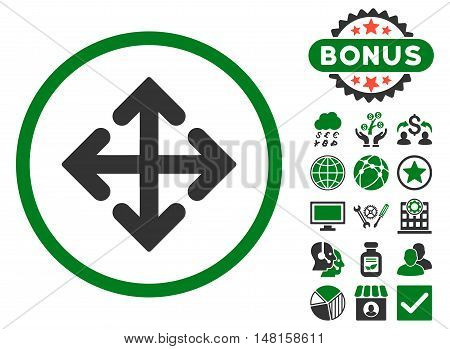Direction Variants icon with bonus images. Vector illustration style is flat iconic bicolor symbols, green and gray colors, white background.