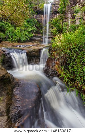 Soi Sawan Waterfall The beautiful waterfall in deep forest during raining season at Pha Taem National Park Ubon Ratchathani province Thailand.