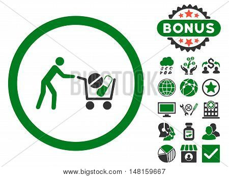 Drugs Shopping Cart icon with bonus pictogram. Vector illustration style is flat iconic bicolor symbols, green and gray colors, white background.
