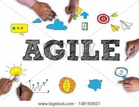 AGILE frame on white background. man work use computer
