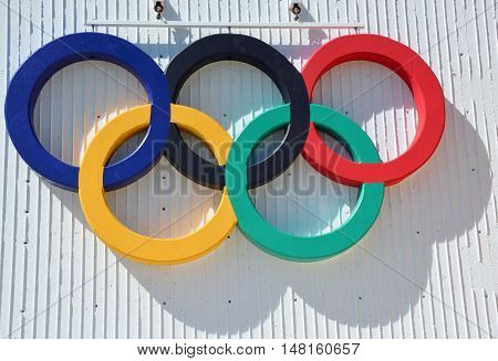 MONTREAL QUEBEC CANADA 09 14 2016: Olympic rings at the Montreal olympic stadium 5 rings, blue, yellow, black, green and red.Represent 5 continents, Africa, Asia, America, Europe and Australia.
