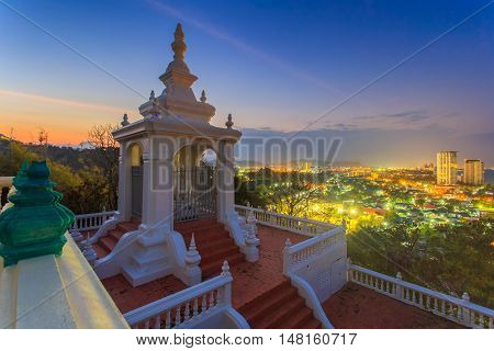 Top view Hua Hin City at Wat khao klai lat Prachuap Khirikhan Province Thailand