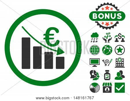 Euro Recession icon with bonus pictogram. Vector illustration style is flat iconic bicolor symbols, green and gray colors, white background.