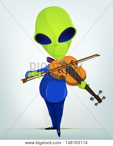 Cartoon Character Funny Alien Isolated on Grey Gradient Background. Violinist.
