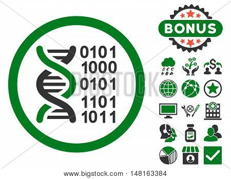 Genome Code icon with bonus pictures. Vector illustration style is flat iconic bicolor symbols, green and gray colors, white background.