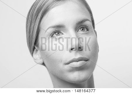 Titled Head Face Beauty Young Woman Close Up Black And White