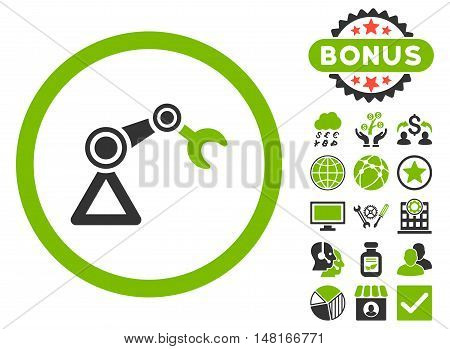 Artificial Manipulator icon with bonus pictogram. Vector illustration style is flat iconic bicolor symbols, eco green and gray colors, white background.
