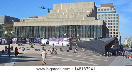 MONTREAL CANADA SEPT 15 2016: Place des Arts is a major performing arts centre in Montreal, Quebec, Canada 45 million spectators have set foot in Place des Arts.