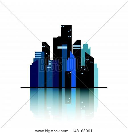 Town flat design landscape illustration. Cityscape sets with various parts of a city: small towns or suburbs and downtown silhouettes. Flat design for business financial marketing banking advertising commercial event minimal concept cartoon illustration.