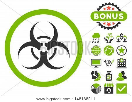 Biohazard Symbol icon with bonus design elements. Vector illustration style is flat iconic bicolor symbols, eco green and gray colors, white background.