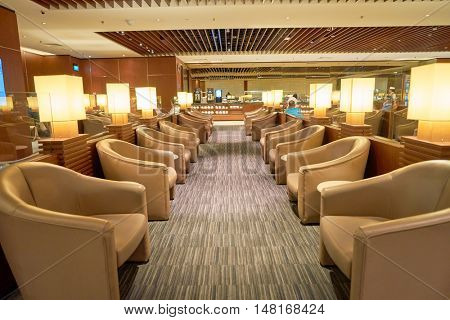 SINGAPORE - CIRCA AUGUST, 2016: The KrisFlyer Gold Lounge at Singapore Changi Airport's Terminal 2. Changi Airport is the primary civilian airport for Singapore.