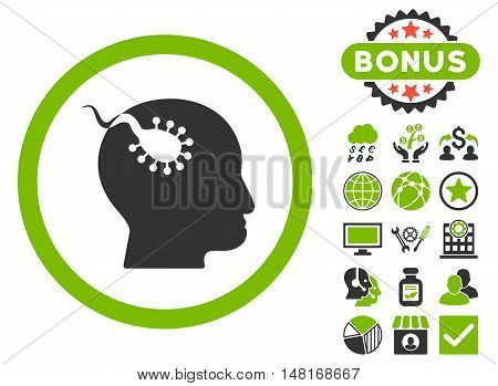 Brain Parasite icon with bonus symbols. Vector illustration style is flat iconic bicolor symbols, eco green and gray colors, white background.