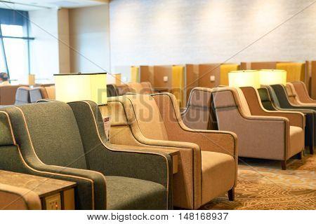 SINGAPORE - CIRCA SEPTEMBER, 2016: interior of Plaza Premium Lounge at Singapore Changi Airport. Changi Airport is the primary civilian airport for Singapore.