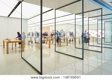 HONG KONG - CIRCA SEPTEMBER, 2016: entryway of Apple store. Apple Store is a chain of retail stores owned and operated by Apple Inc., dealing with computers and consumer electronics.