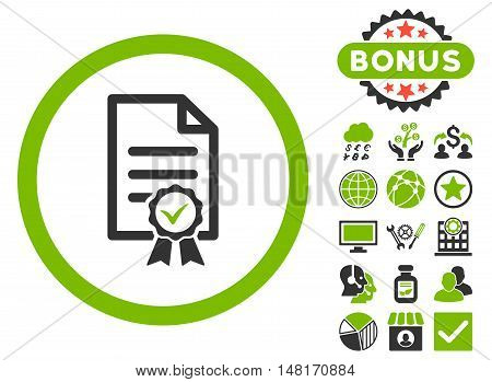 Certified icon with bonus pictures. Vector illustration style is flat iconic bicolor symbols, eco green and gray colors, white background.
