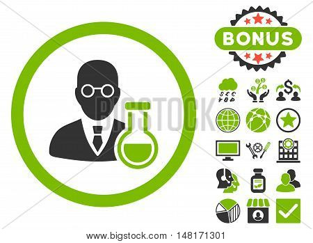Chemist icon with bonus images. Vector illustration style is flat iconic bicolor symbols, eco green and gray colors, white background.
