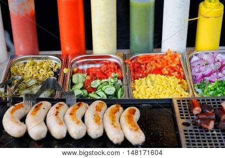 Tray With Cooked Food On Showcase
