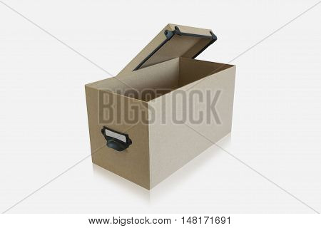 An open cardboard box on white background