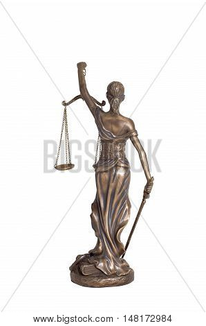 Lady justice or Themis  (Back) isolated on white background