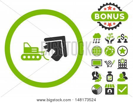 Demolition icon with bonus images. Vector illustration style is flat iconic bicolor symbols, eco green and gray colors, white background.