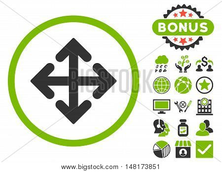 Direction Variants icon with bonus design elements. Vector illustration style is flat iconic bicolor symbols, eco green and gray colors, white background.