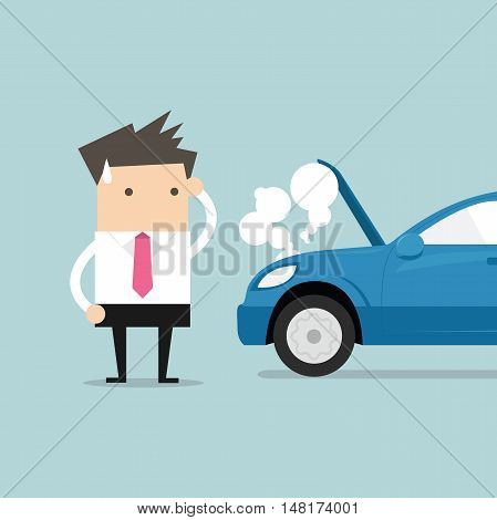 Businessman have a force majeure, a car broke down. vector