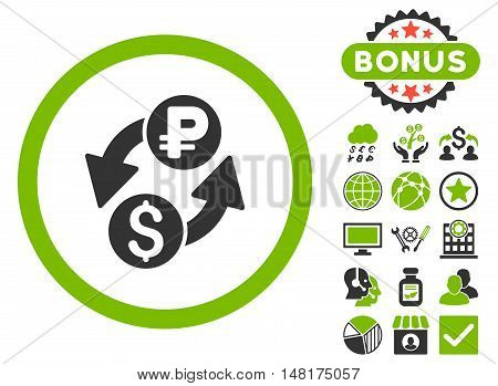 Dollar Rouble Exchange icon with bonus pictures. Vector illustration style is flat iconic bicolor symbols, eco green and gray colors, white background.